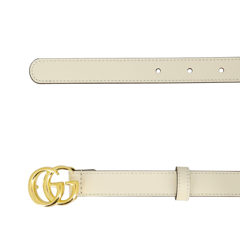 Cintura Gucci in pelle con fibbia GG bianco 2