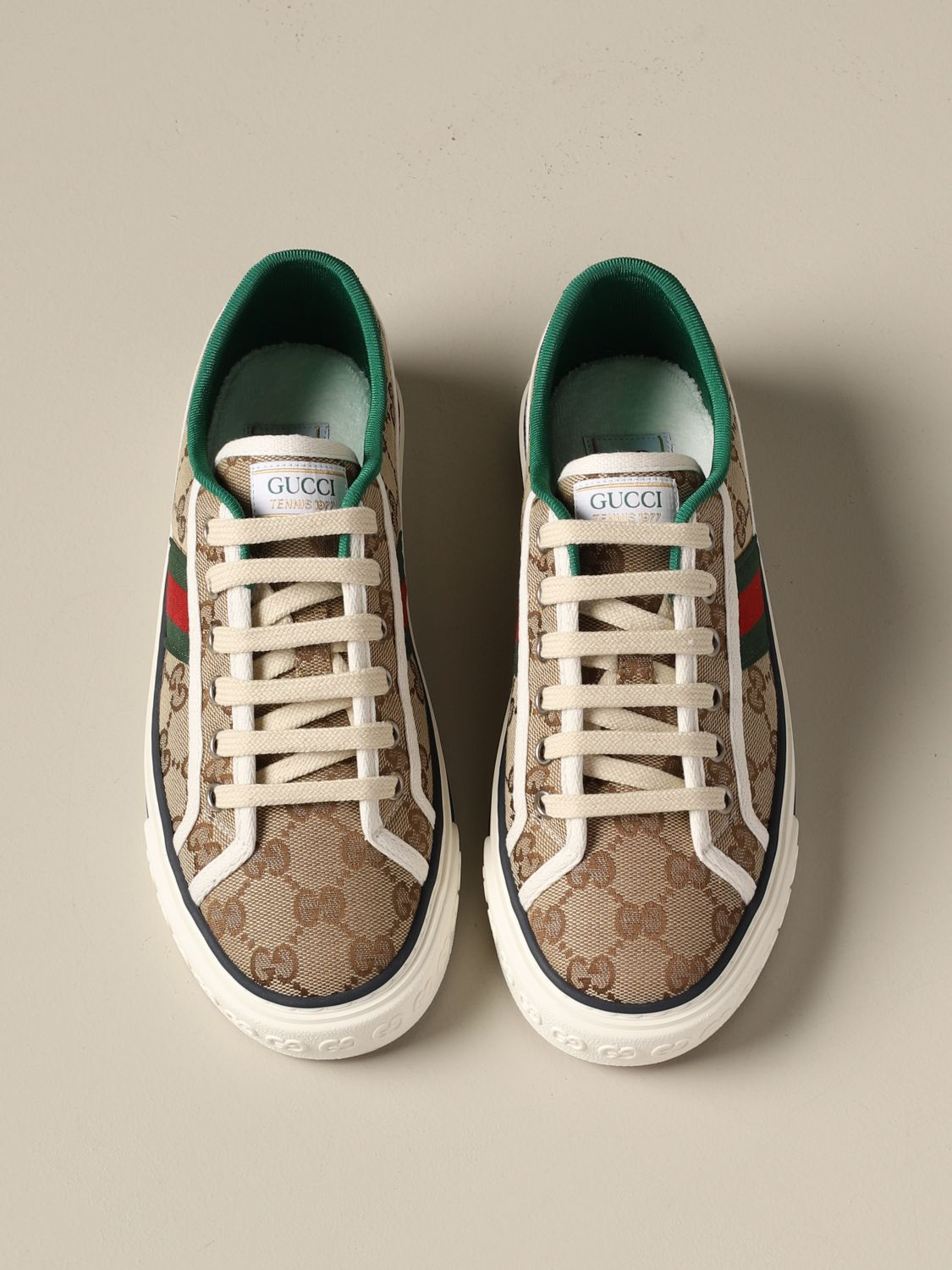 gucci tennis 1977 sneakers with web band sneakers gucci