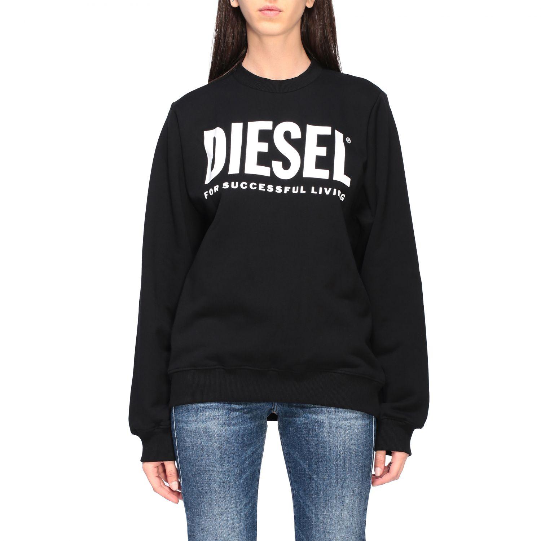 Diesel Sweatshirt mit Rundhalsausschnitt und Logo-Print schwarz 1