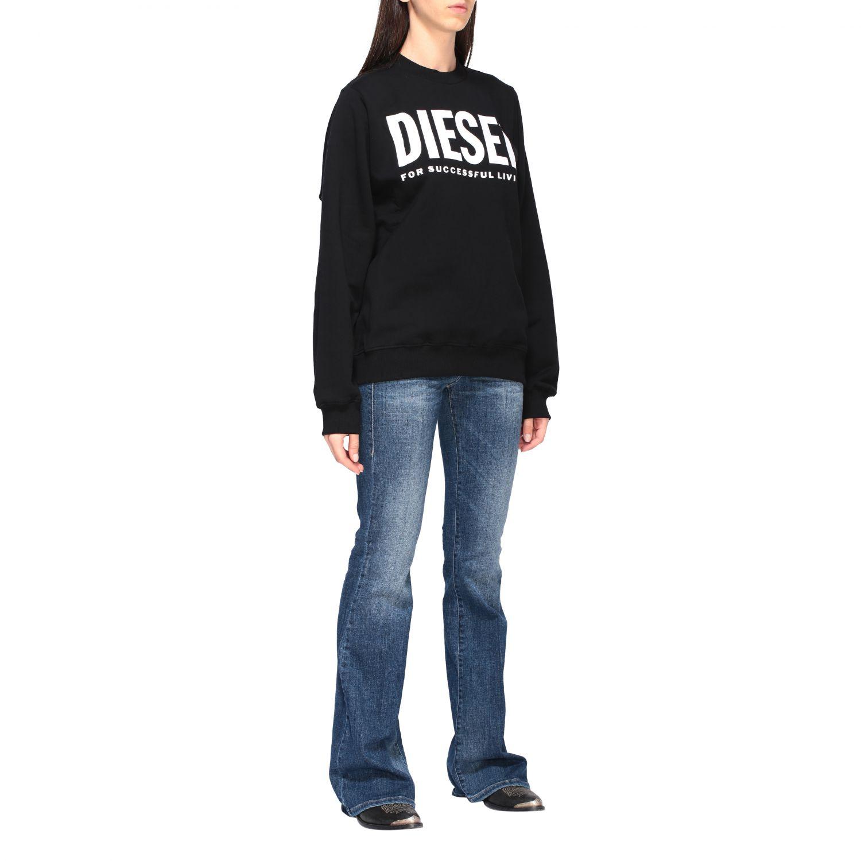 Diesel Sweatshirt mit Rundhalsausschnitt und Logo-Print schwarz 2