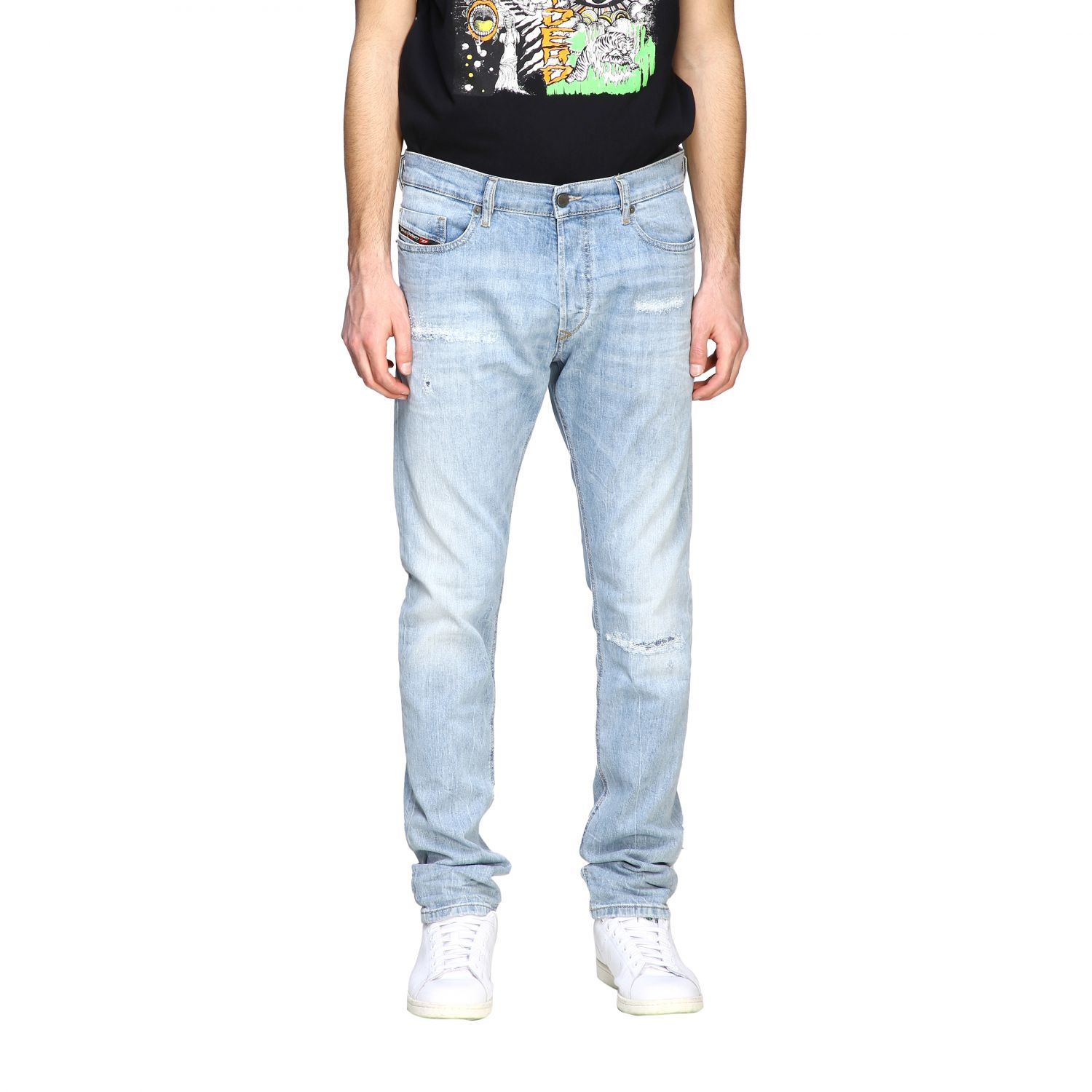 Jeans Diesel: Diesel Tepphar-x Jeans aus Used Stretch-Denim mit normaler Taille stone bleached 1