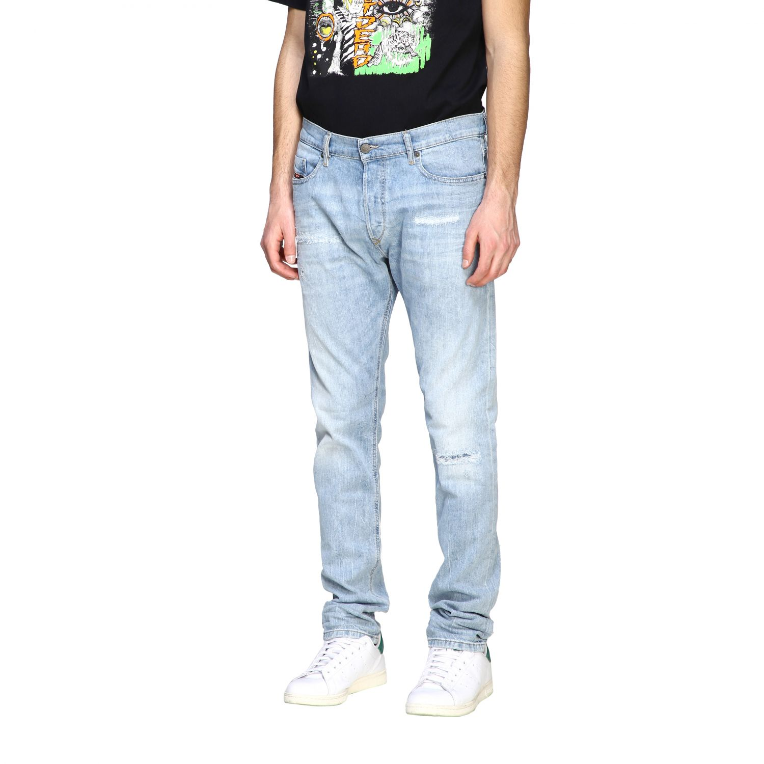 Jeans Diesel: Diesel Tepphar-x Jeans aus Used Stretch-Denim mit normaler Taille stone bleached 4
