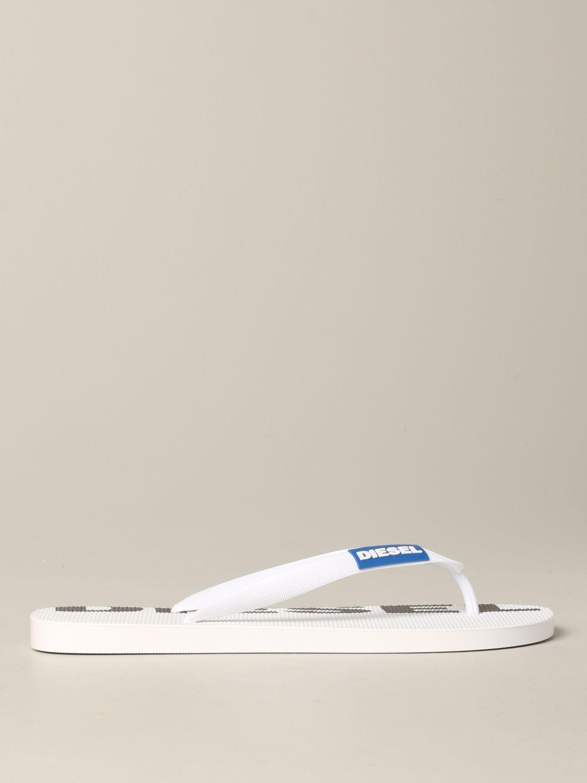 Sandalo a infradito Diesel in gomma con logo bianco 1