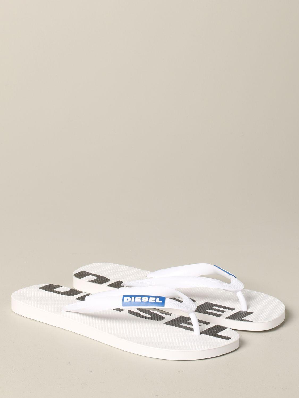 Sandalo a infradito Diesel in gomma con logo bianco 2