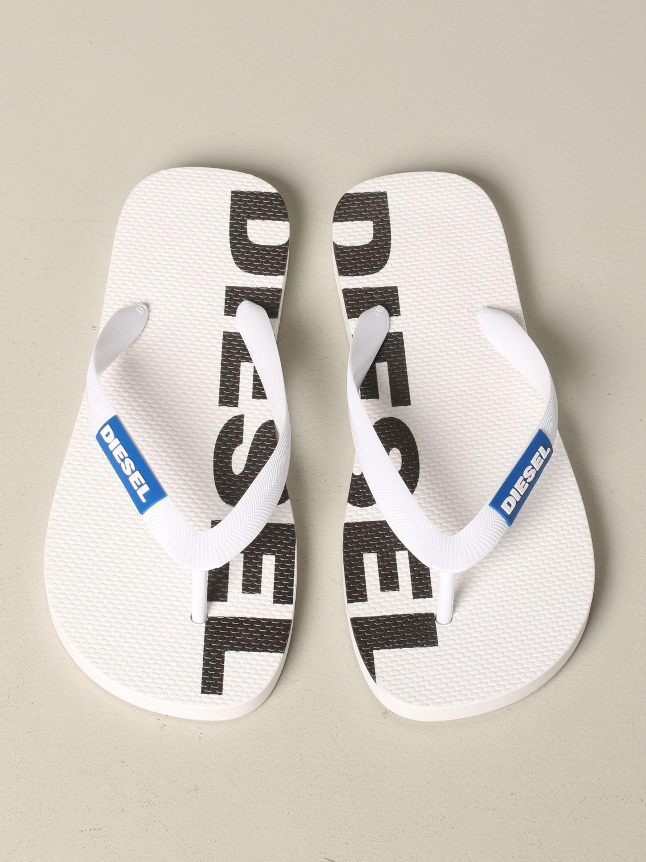 Sandalo a infradito Diesel in gomma con logo bianco 3