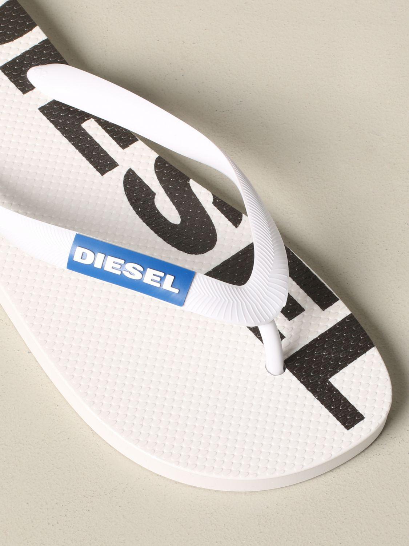 Sandalo a infradito Diesel in gomma con logo bianco 4