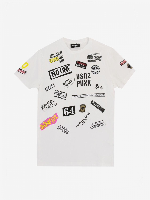 T-shirt Dsquared2 Junior: T-shirt Dsquared2 Junior con multi stampe e patch bianco 1