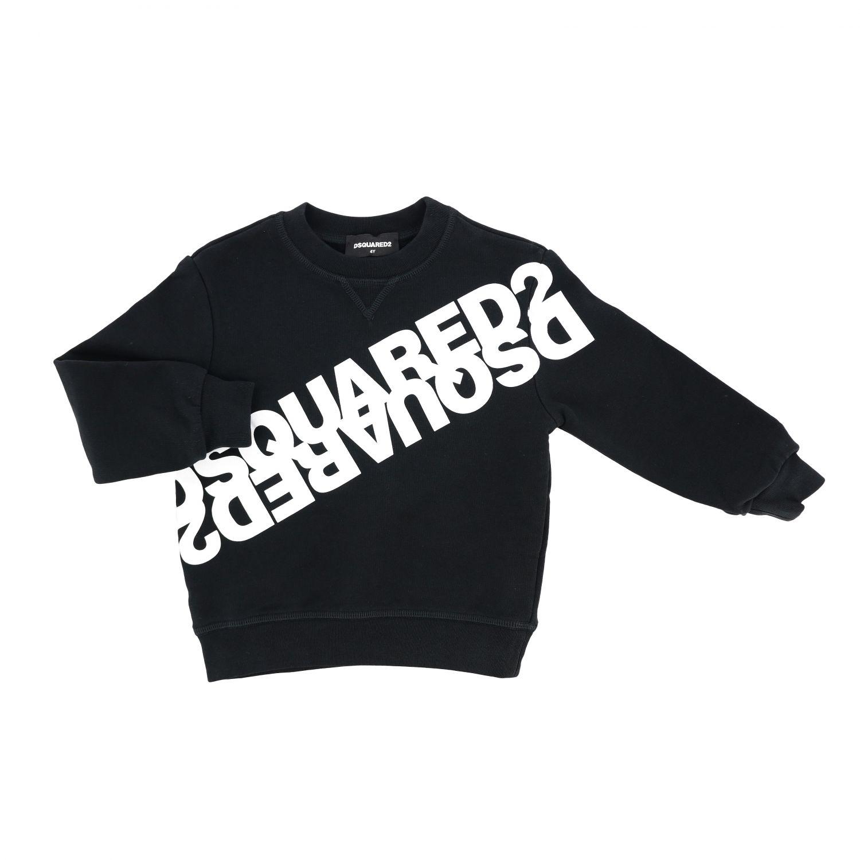 毛衣 Dsquared2 Junior: Dsquared2 Junior logo印花圆领卫衣 黑色 1