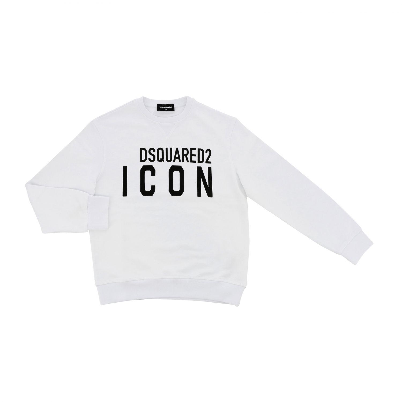 Maglia Dsquared2 Junior: Felpa Dsquared2 Junior a girocollo con logo Icon bianco 1