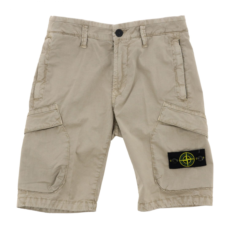 Pantaloncino Stone Island Junior con logo sabbia 1