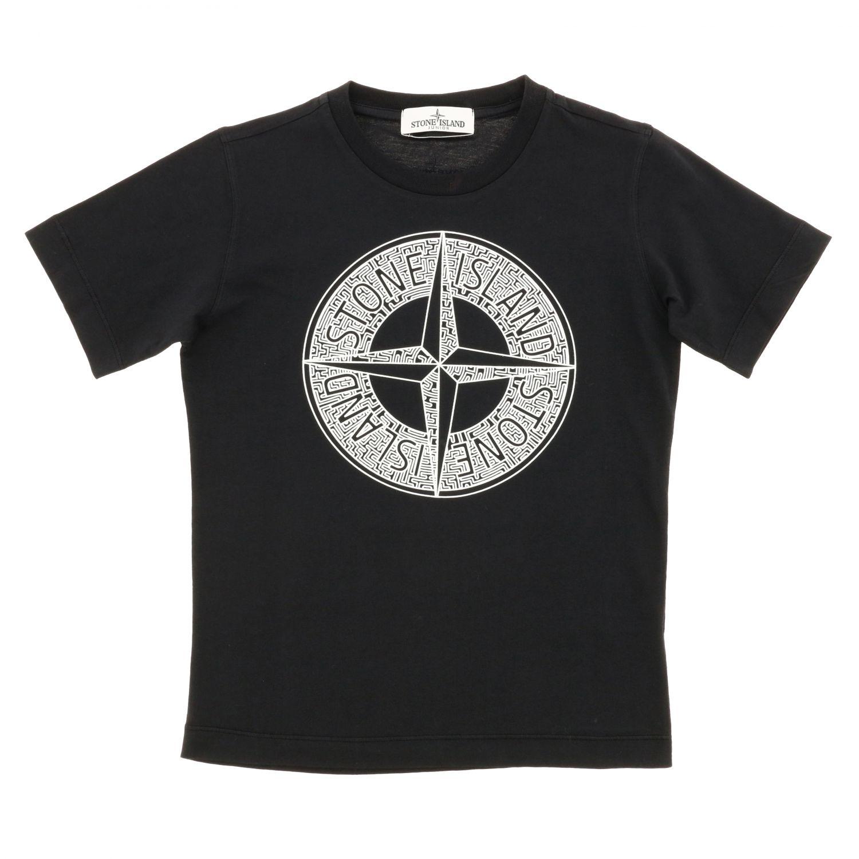 T-shirt Stone Island Junior a maniche corte con logo nero 1