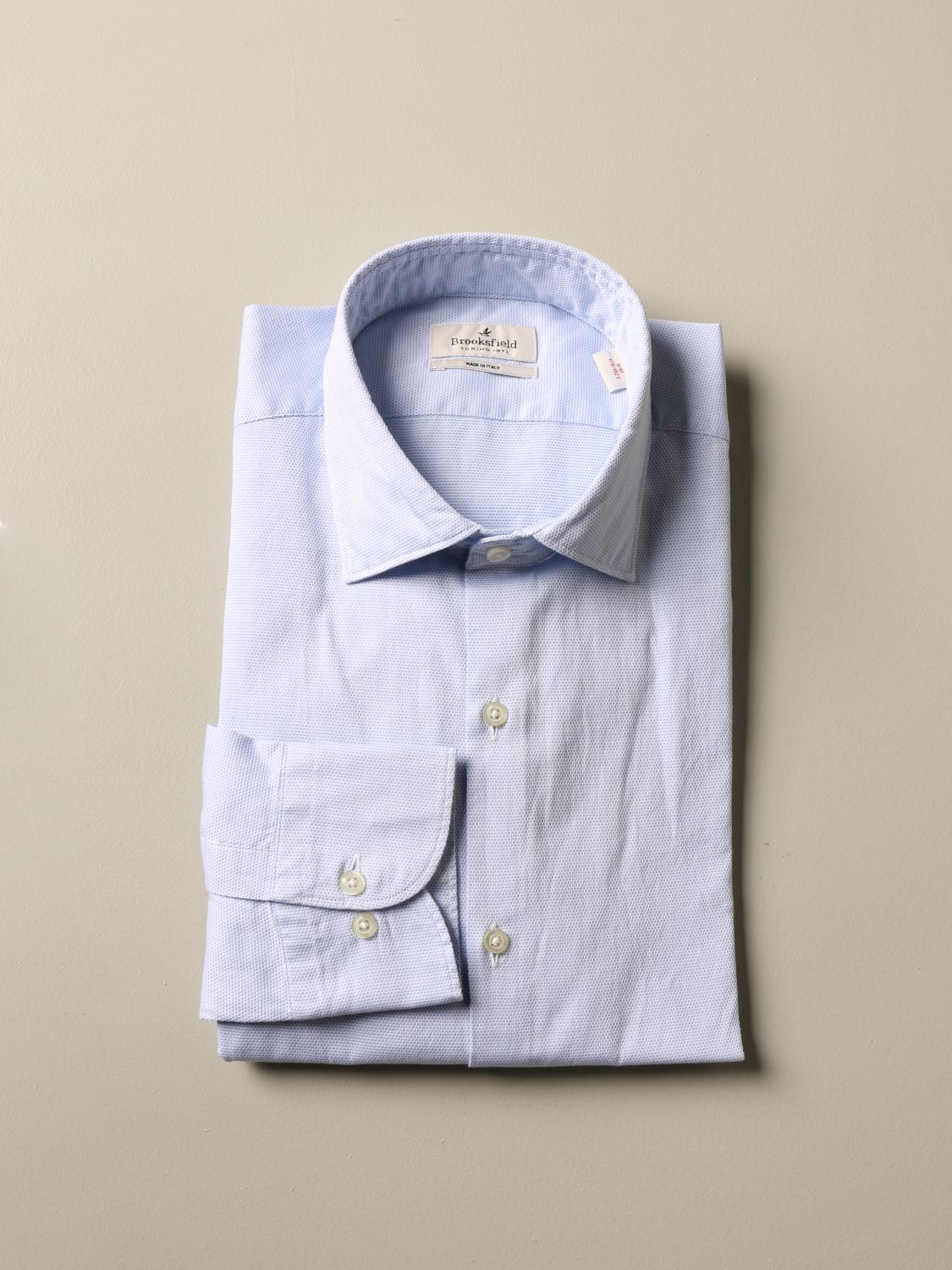 Shirt Brooksfield: Brooksfield slim fit cotton shirt gnawed blue 1