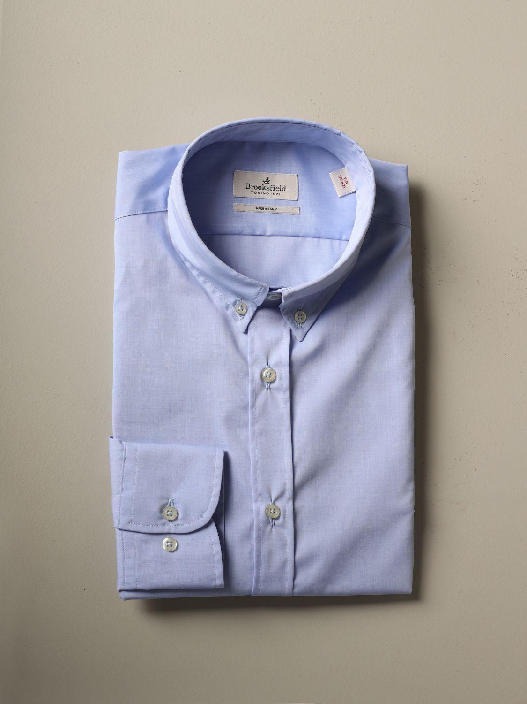 Shirt Brooksfield: Brooksfield shirt in stretch poplin gnawed blue 1