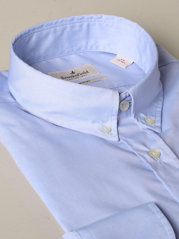 Shirt Brooksfield: Brooksfield shirt in stretch poplin gnawed blue 2