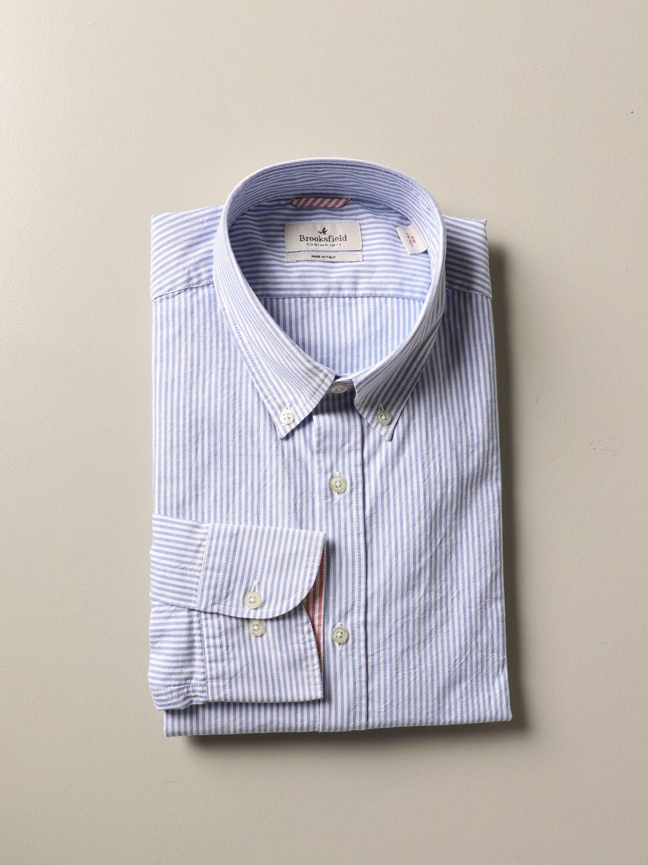 Shirt Brooksfield: Brooksfield slim shirt in micro-striped cotton blue 1