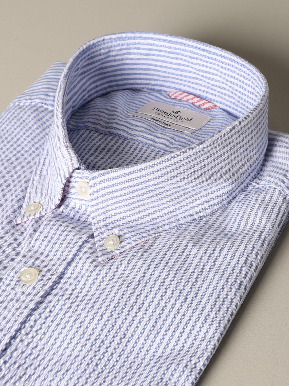 Shirt Brooksfield: Brooksfield slim shirt in micro-striped cotton blue 2
