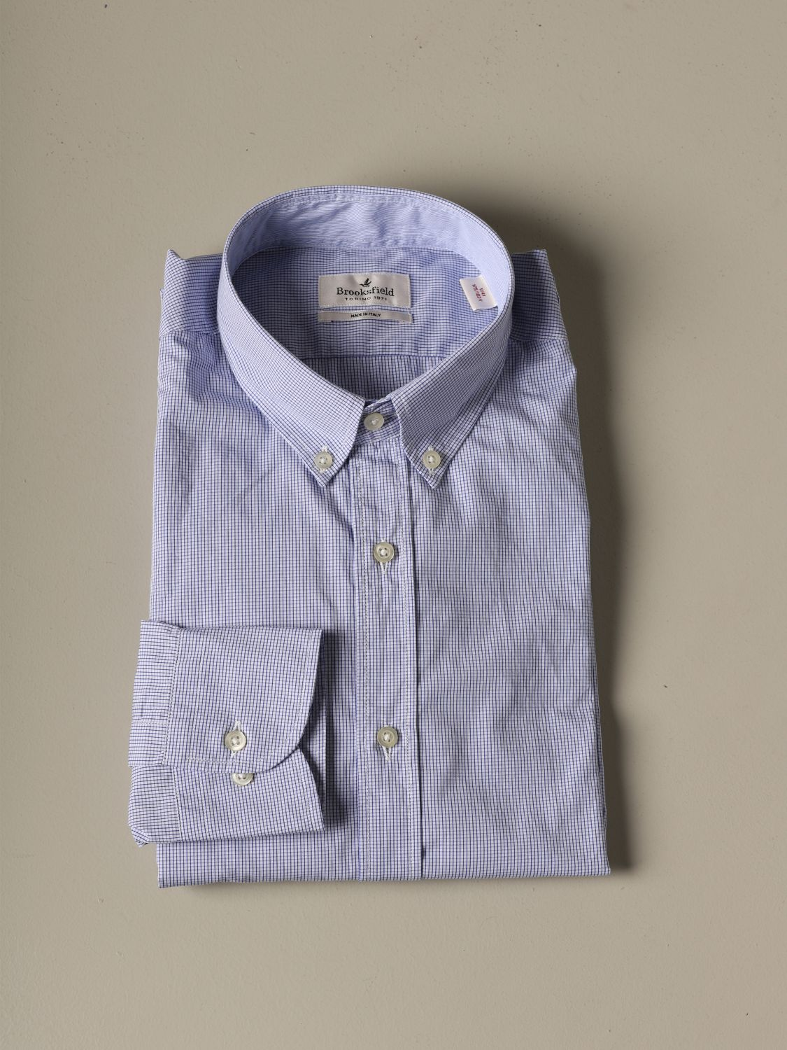 Shirt Brooksfield: Brooksfield shirt in micro-check cotton blue 1