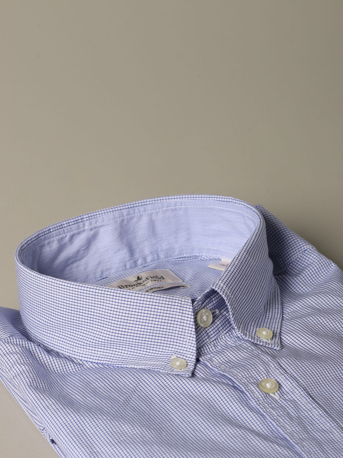 Shirt Brooksfield: Brooksfield shirt in micro-check cotton blue 2