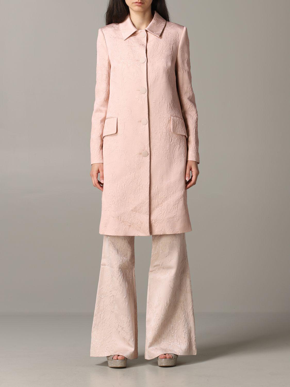 Blumarine brocade coat with rose print blush pink 1