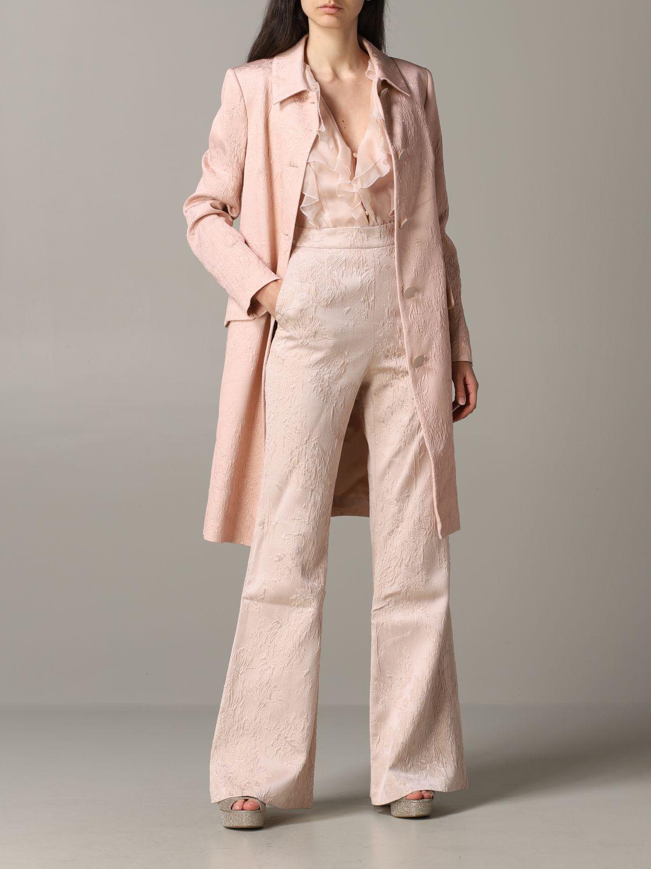 Blumarine brocade coat with rose print blush pink 2