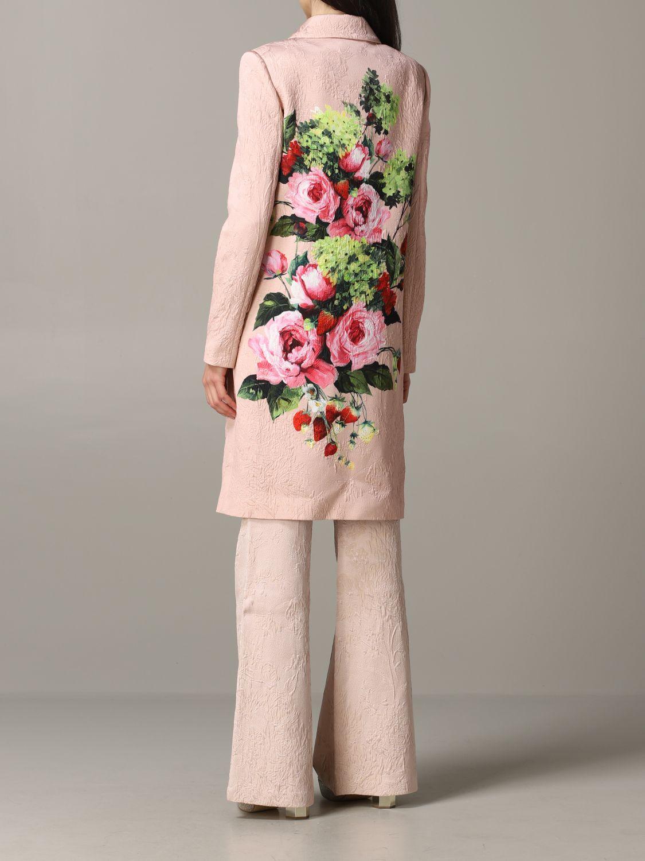 Blumarine brocade coat with rose print blush pink 3