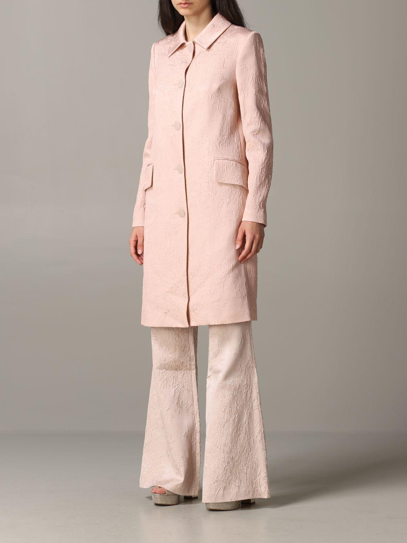 Blumarine brocade coat with rose print blush pink 4