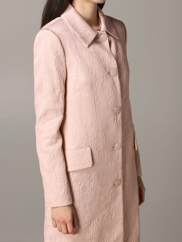 Blumarine brocade coat with rose print blush pink 5