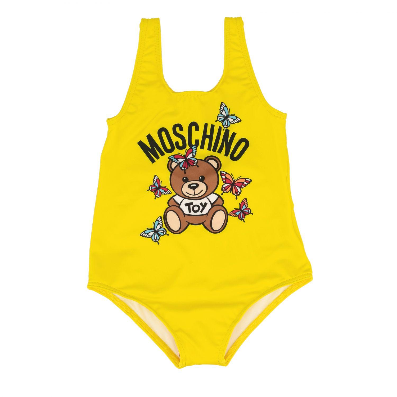 泳装 Moschino Baby: Moschino Baby 泰迪熊印花连体泳装 黄色 1