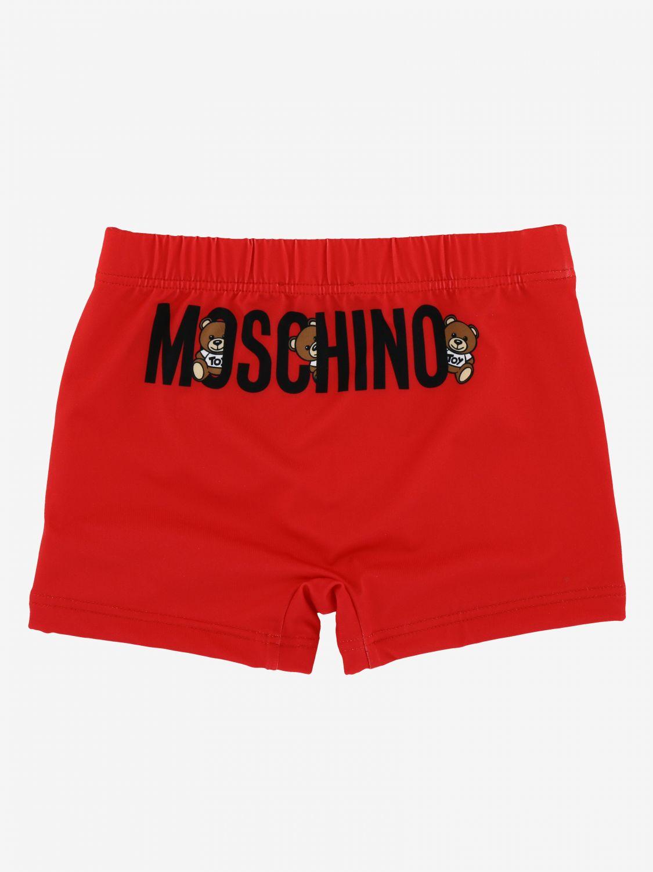 泳装 Moschino Baby: Moschino Baby 泰迪熊logo 泳裤 红色 2