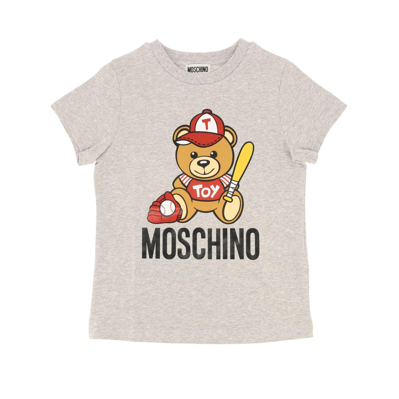 T-shirt Moschino Kid a maniche corte con stampa teddy baseball grigio 1