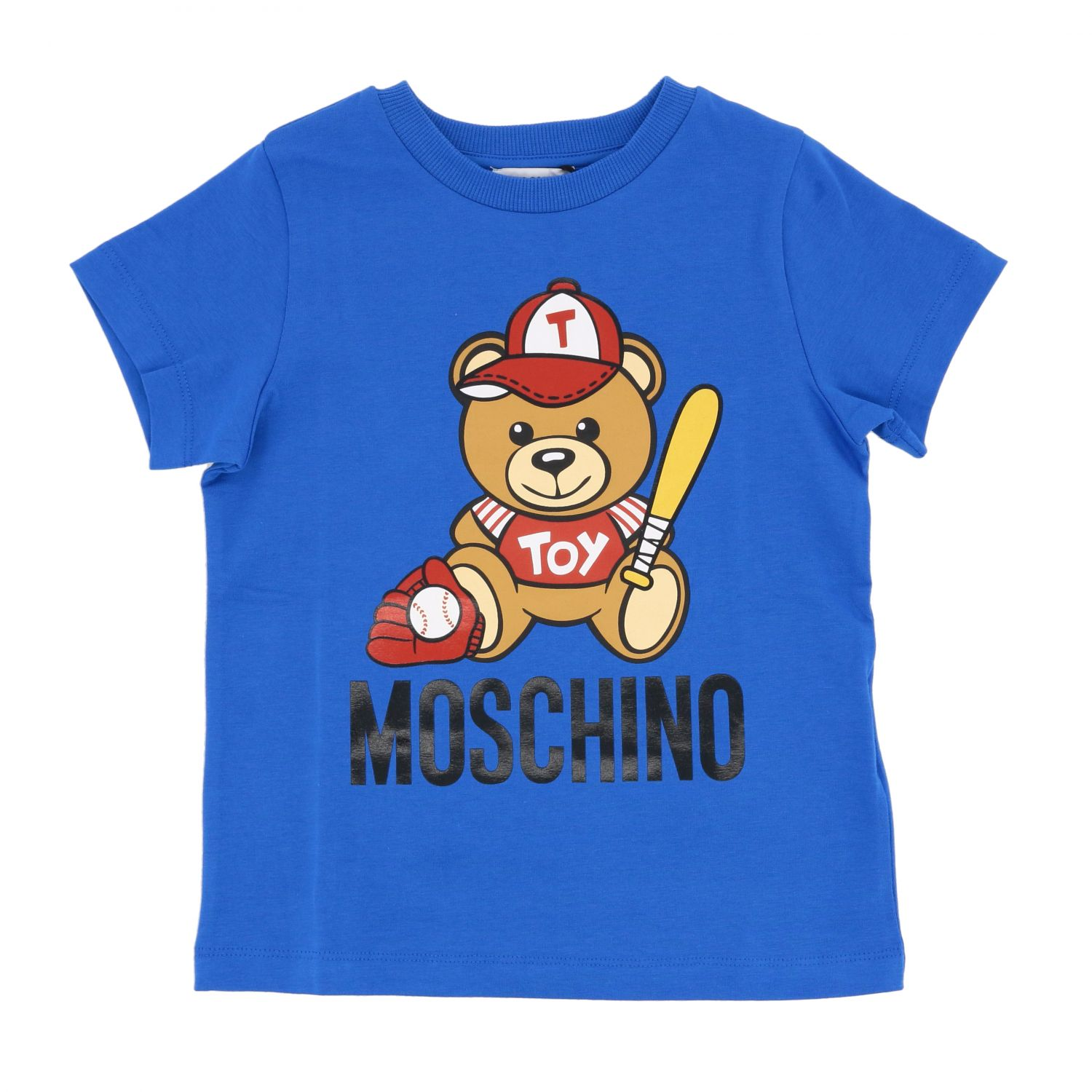 Moschino Kid short-sleeved t-shirt with teddy baseball print royal blue 1