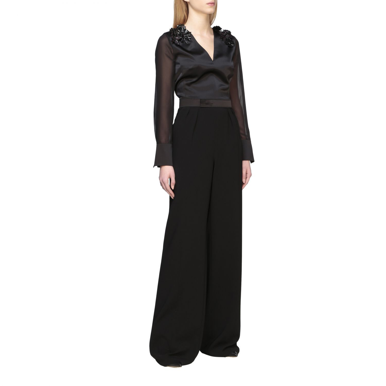 Max Mara Camino suit in silk and cady with applications black 1