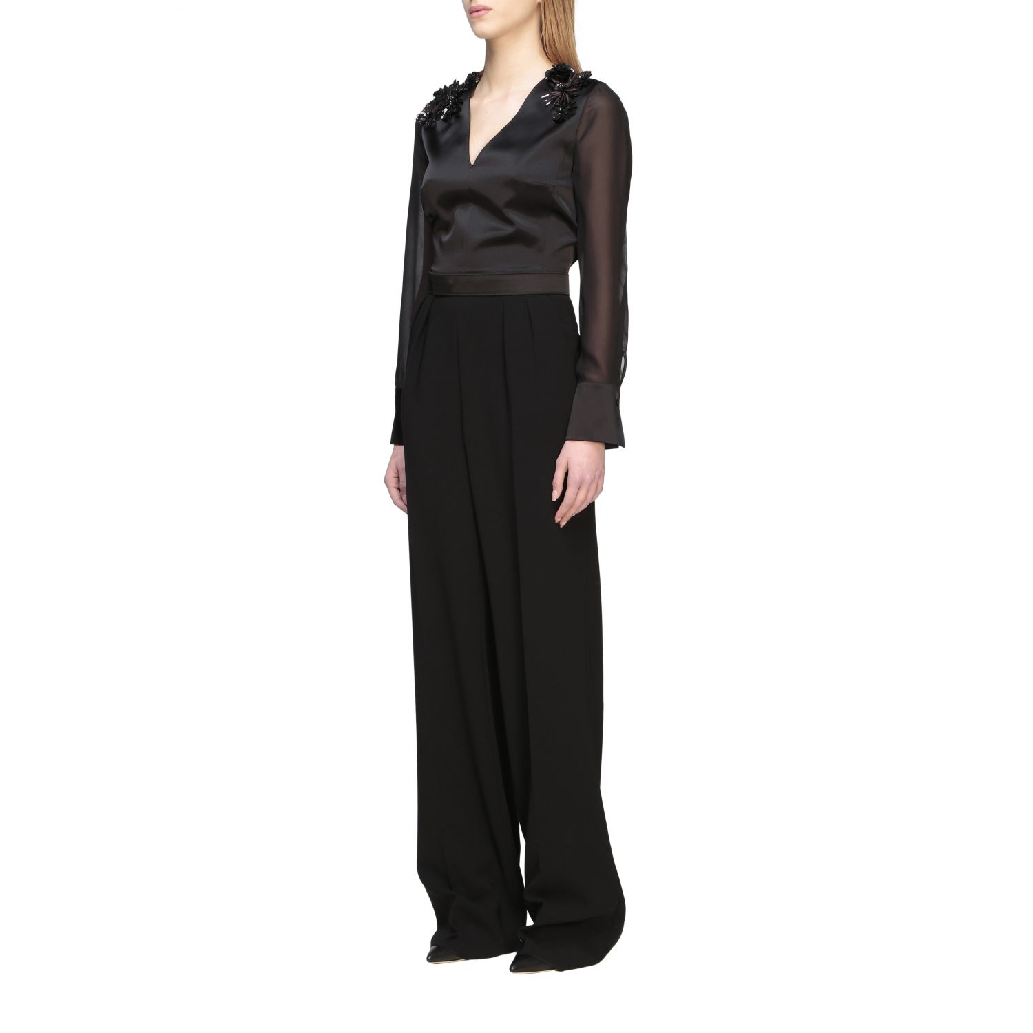 Max Mara Camino suit in silk and cady with applications black 3