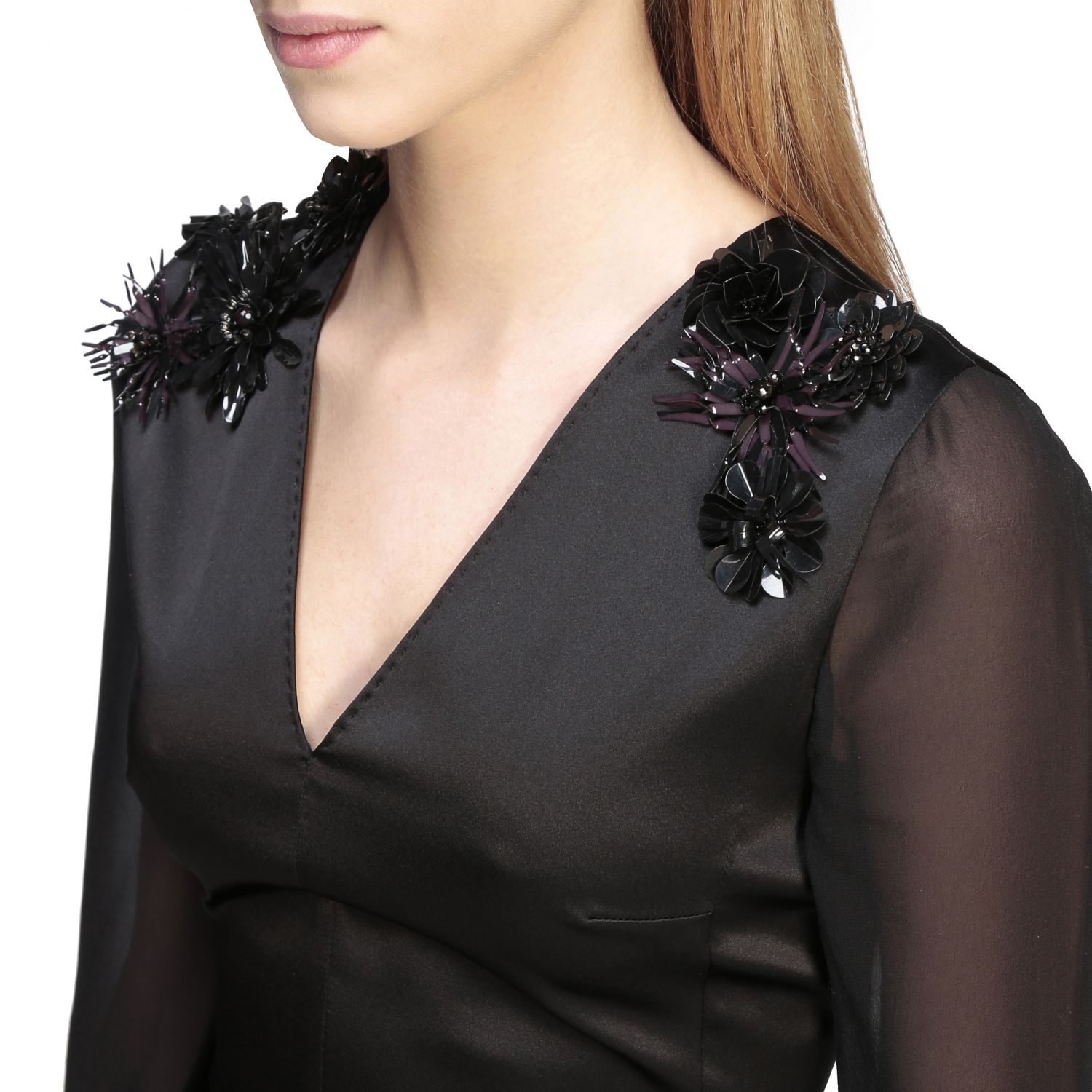 Max Mara Camino suit in silk and cady with applications black 4