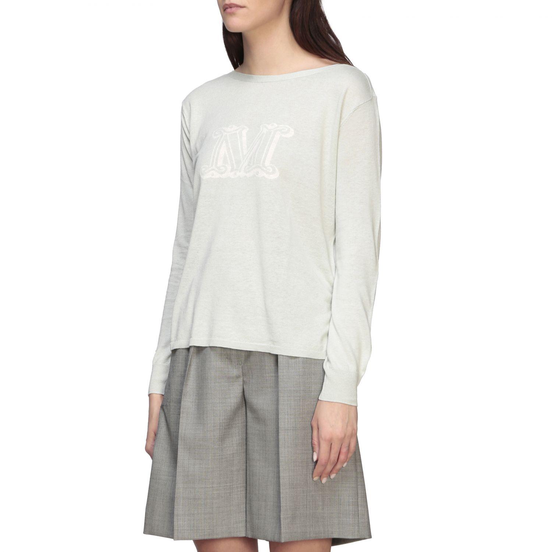 Max Mara Salice Shirt aus Seide und Leinen mit Logo grün 4