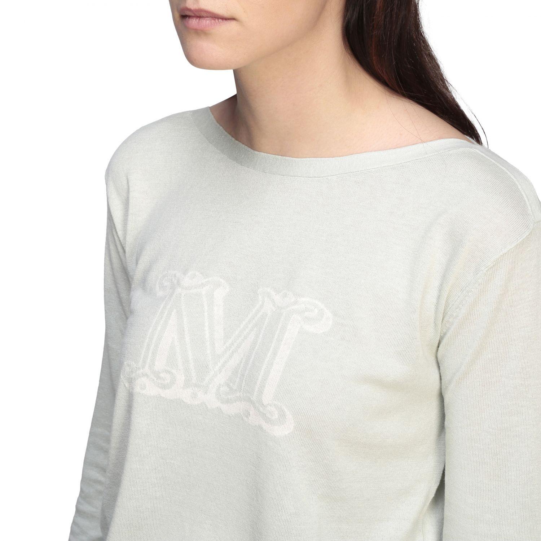 Max Mara Salice Shirt aus Seide und Leinen mit Logo grün 5