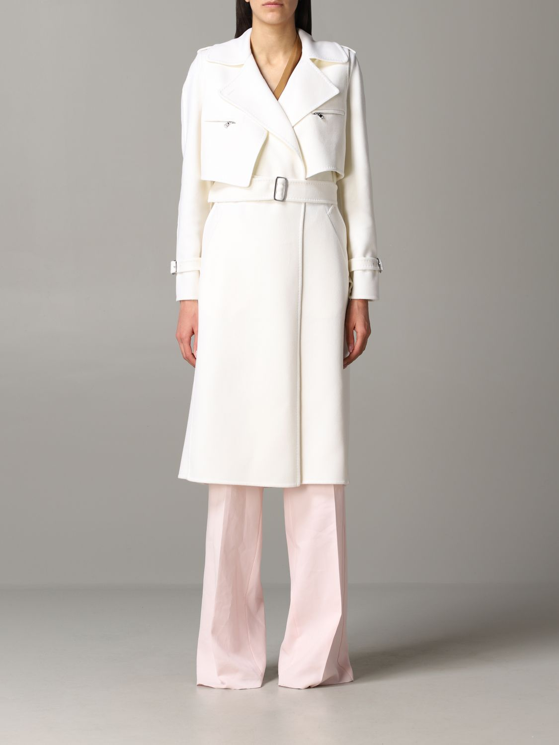Max Mara Gianna dressing gown coat with removable vest white 1