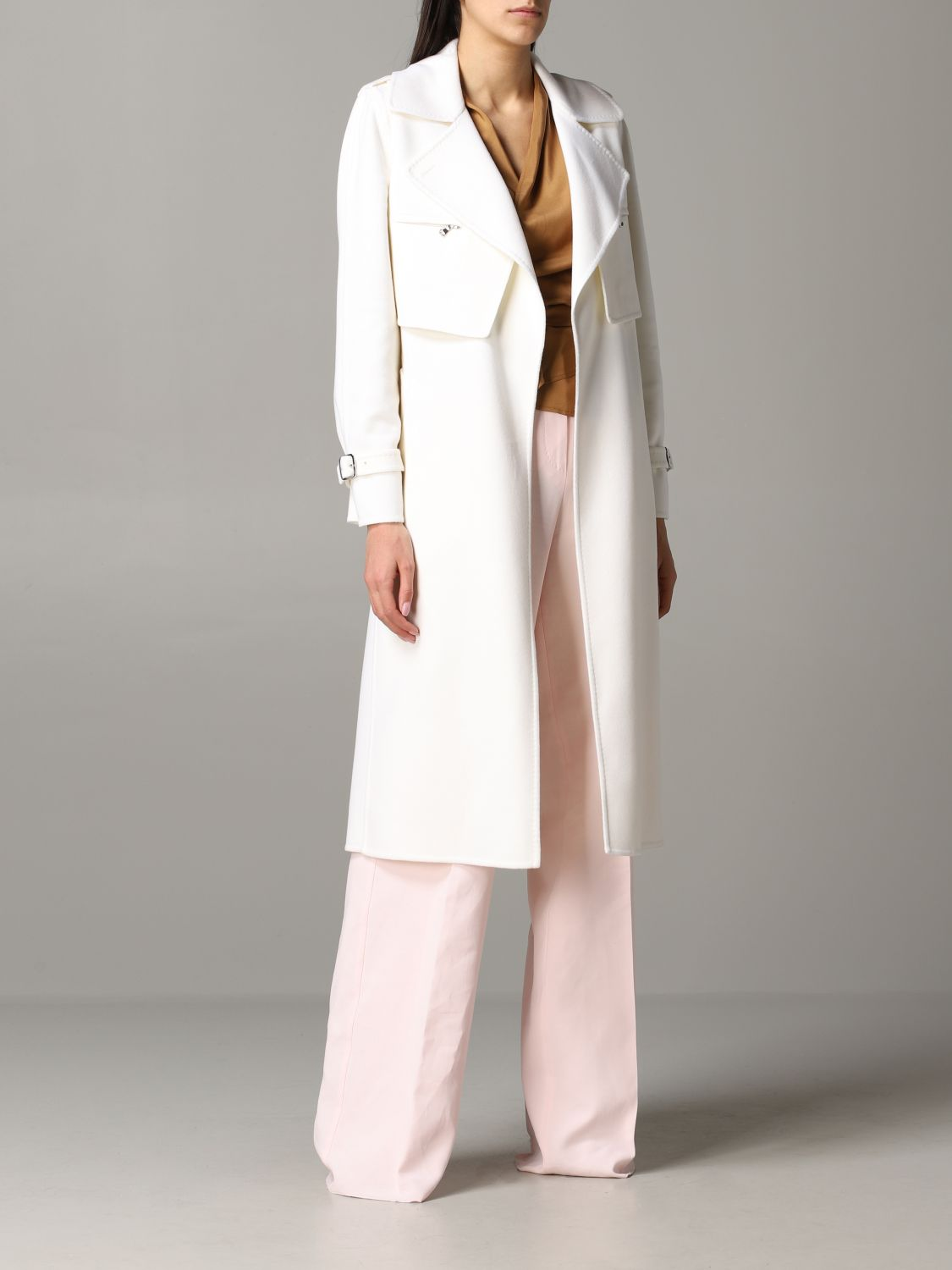 Max Mara Gianna dressing gown coat with removable vest white 2