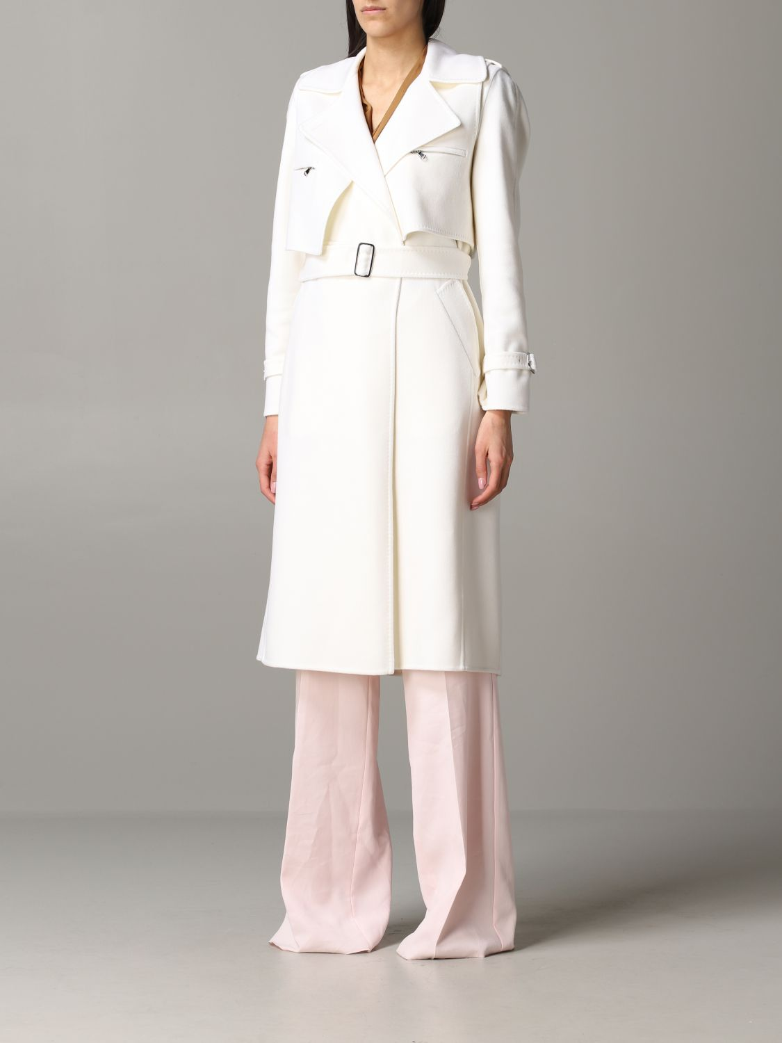 Max Mara Gianna dressing gown coat with removable vest white 4