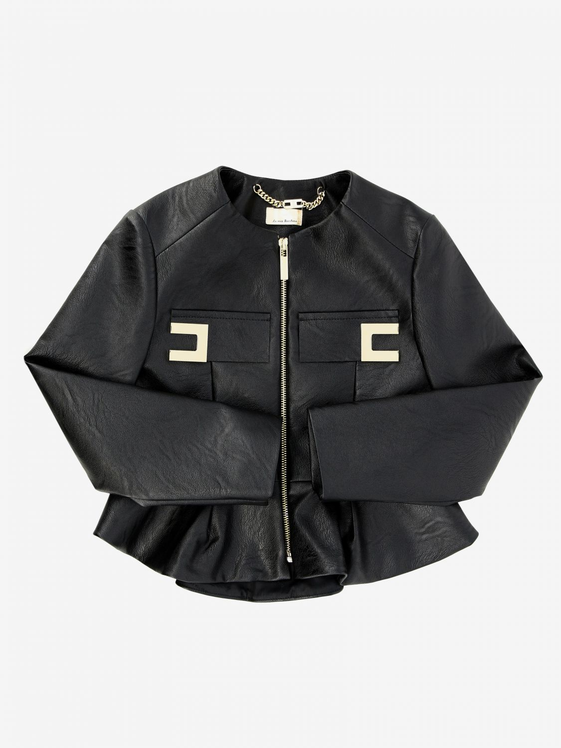 Elisabetta franchi jacket in synthetic leather with logo black 1