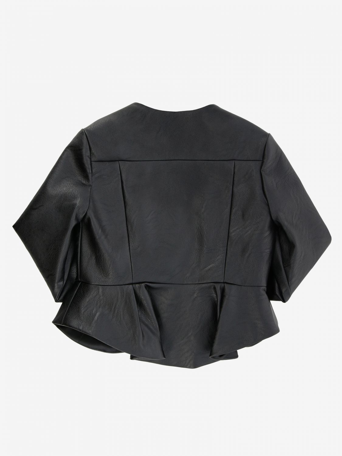 Elisabetta franchi jacket in synthetic leather with logo black 2