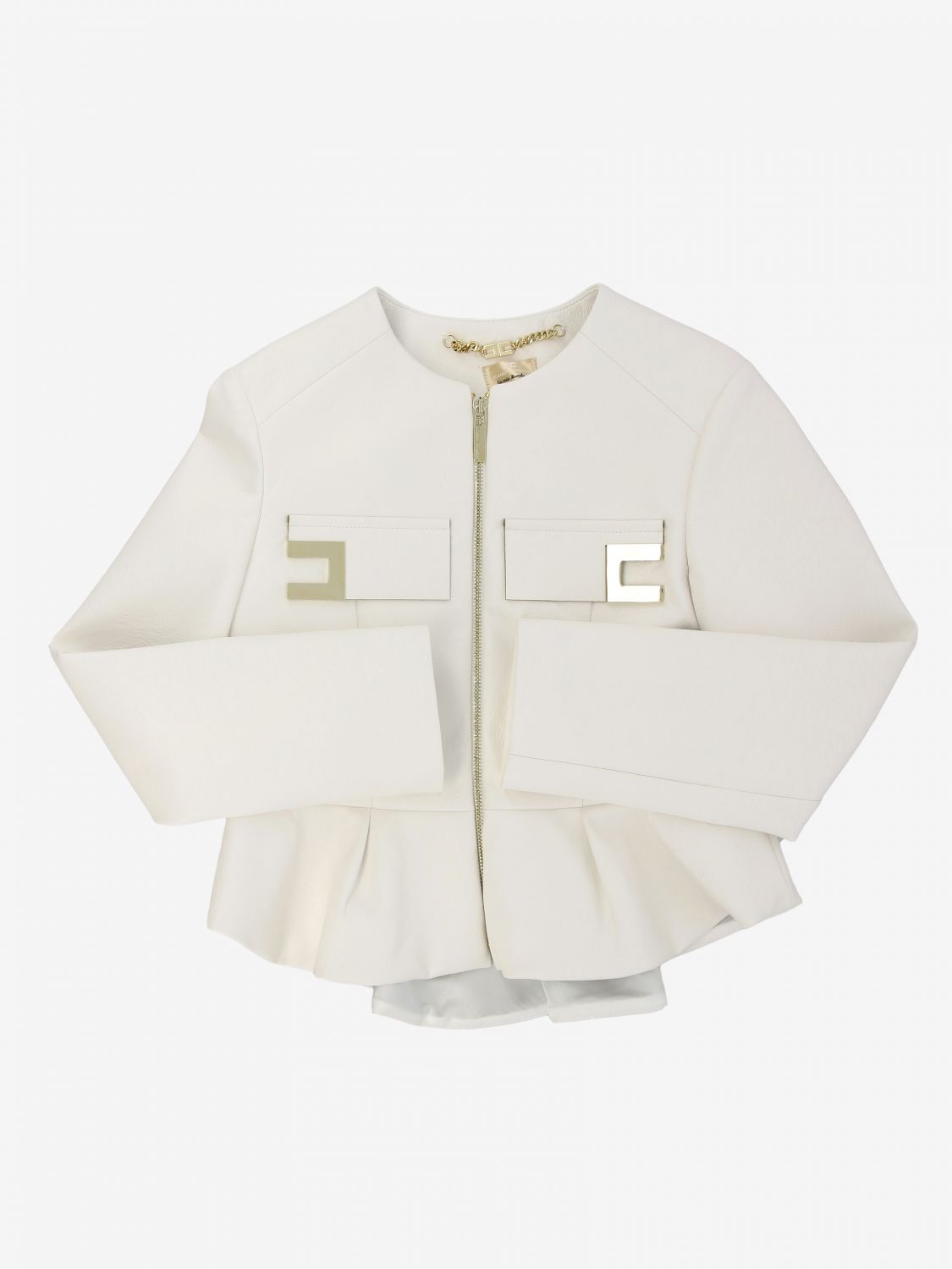 Elisabetta franchi jacket in synthetic leather with logo ivory 1