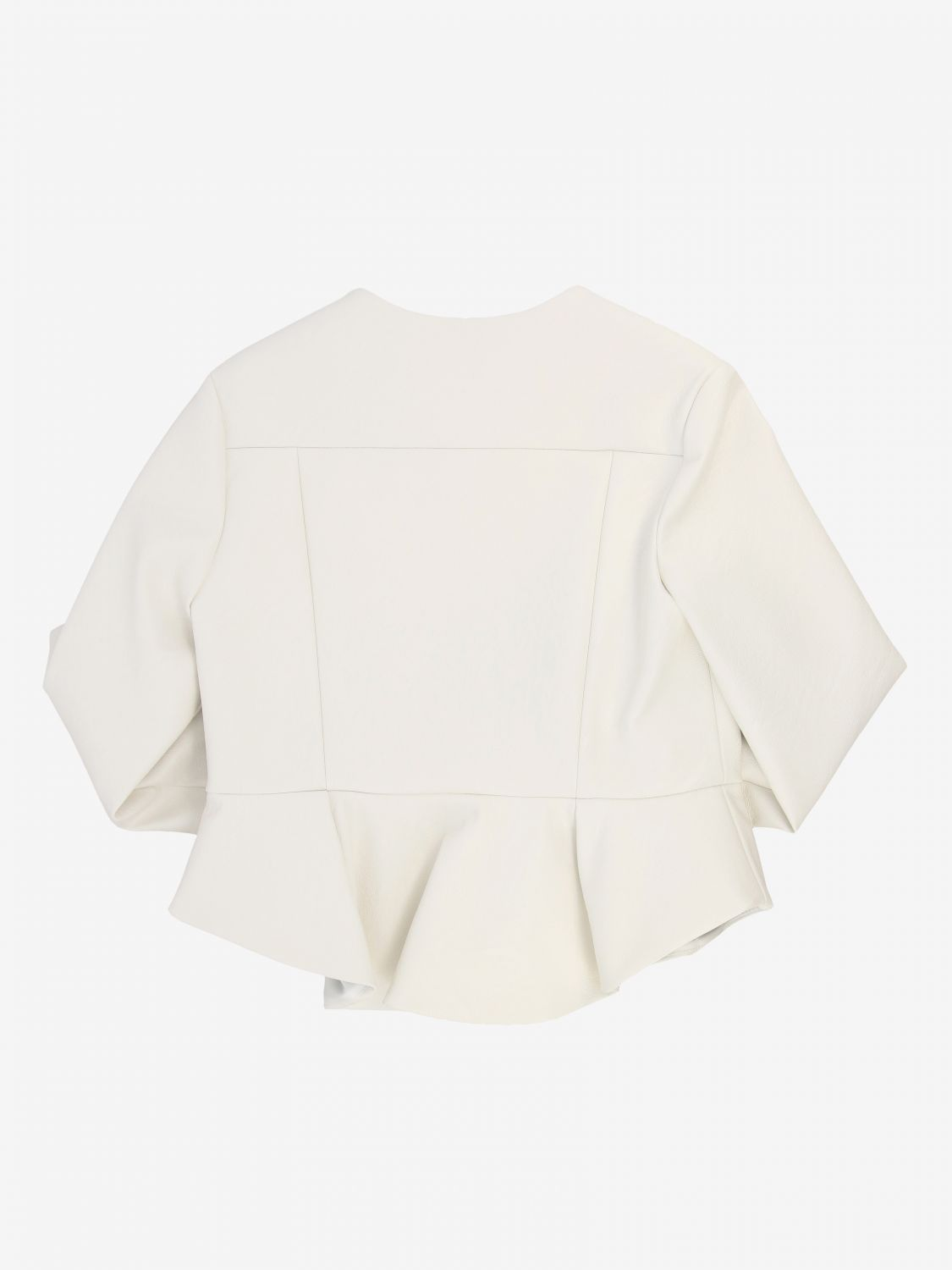 Elisabetta franchi jacket in synthetic leather with logo ivory 2