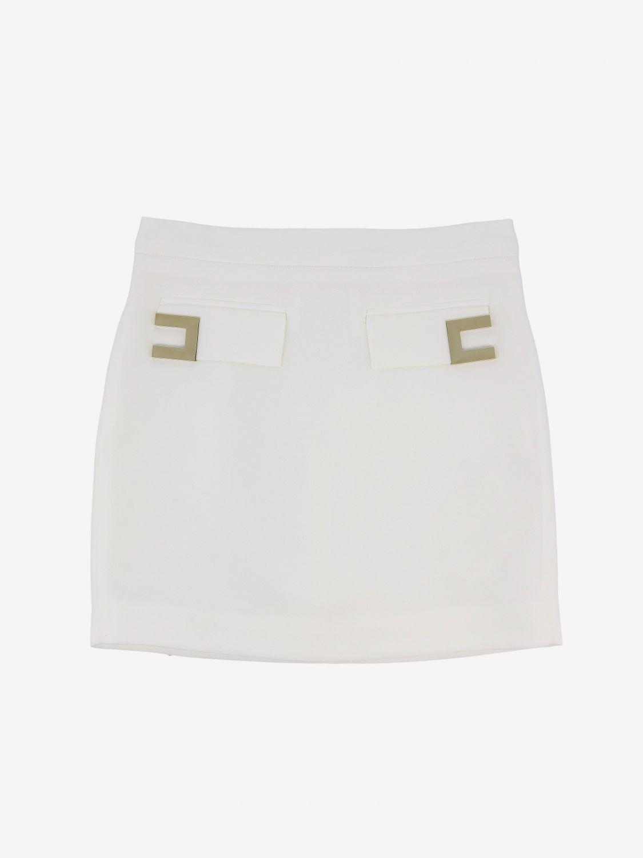 Elisabetta Franchi skirt with metallic logo ivory 1