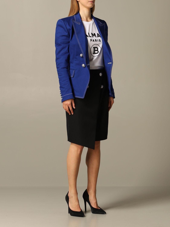Blazer Balmain: Blazer women Balmain royal blue 2