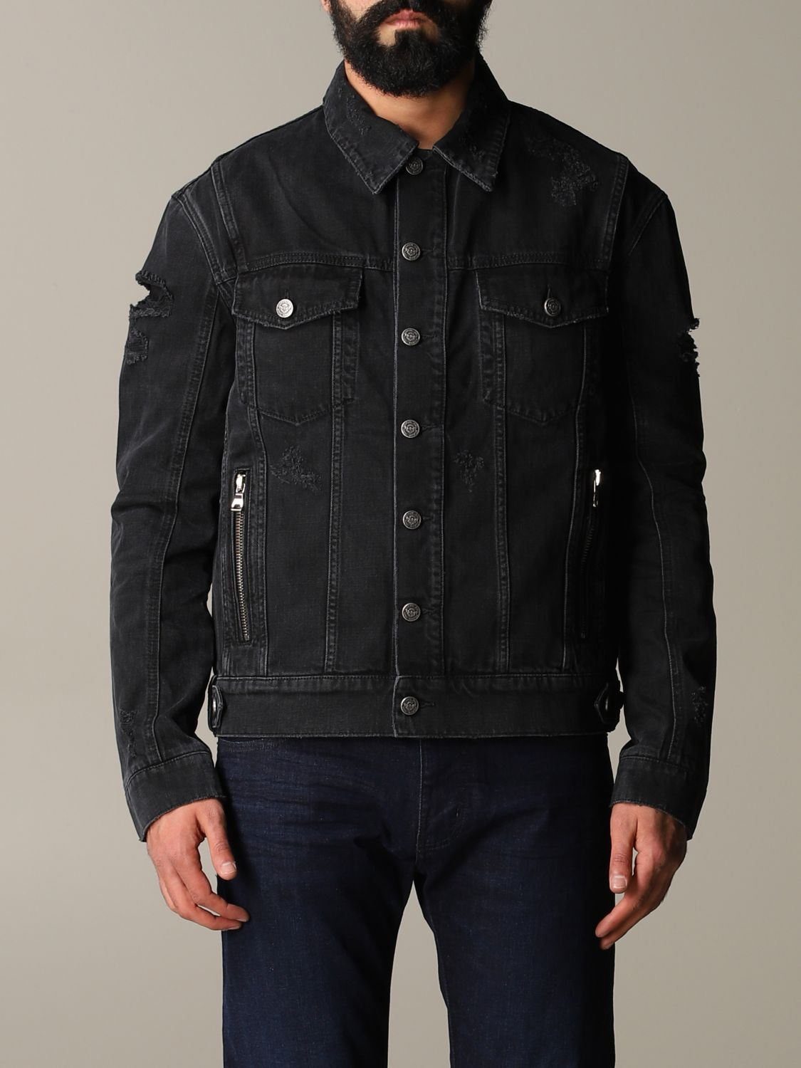 Jacket Balmain: Balmain denim jacket in denim with back logo black 1