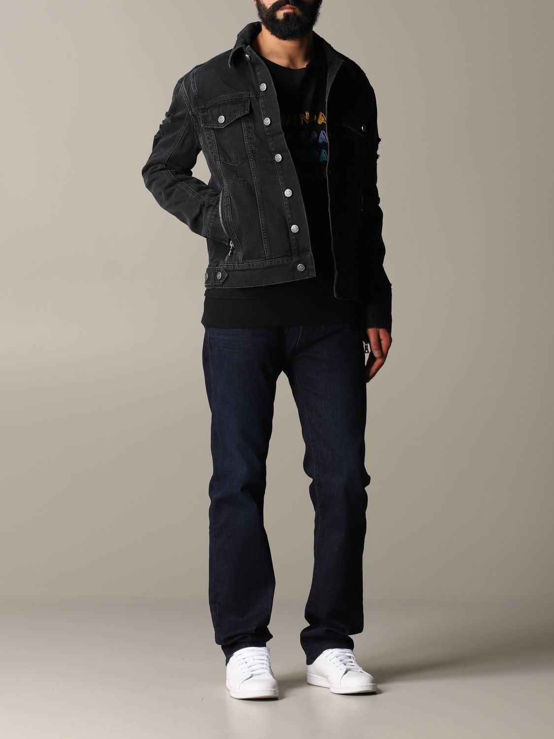 Jacket Balmain: Balmain denim jacket in denim with back logo black 2