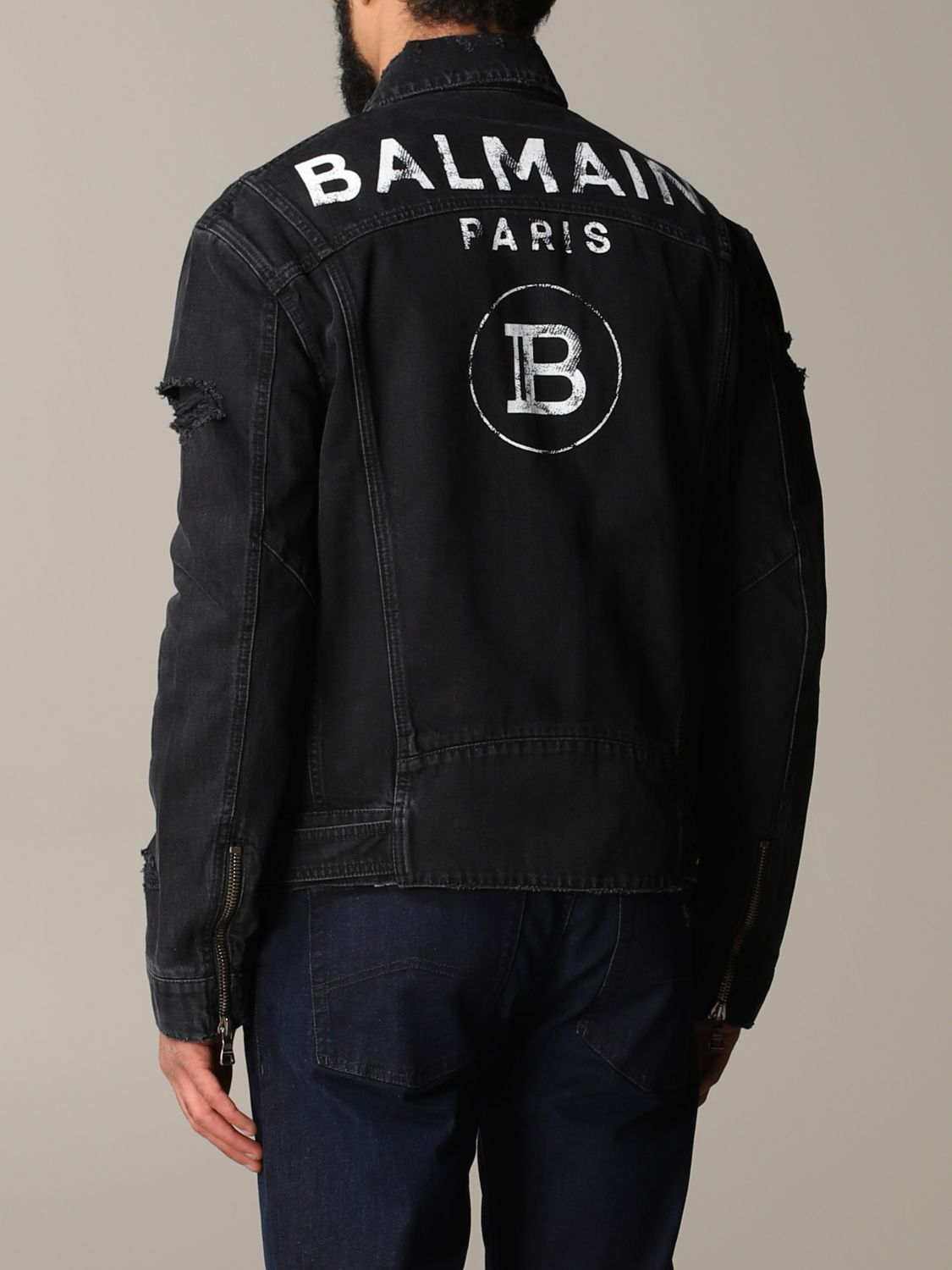 Jacket Balmain: Balmain denim jacket in denim with back logo black 3