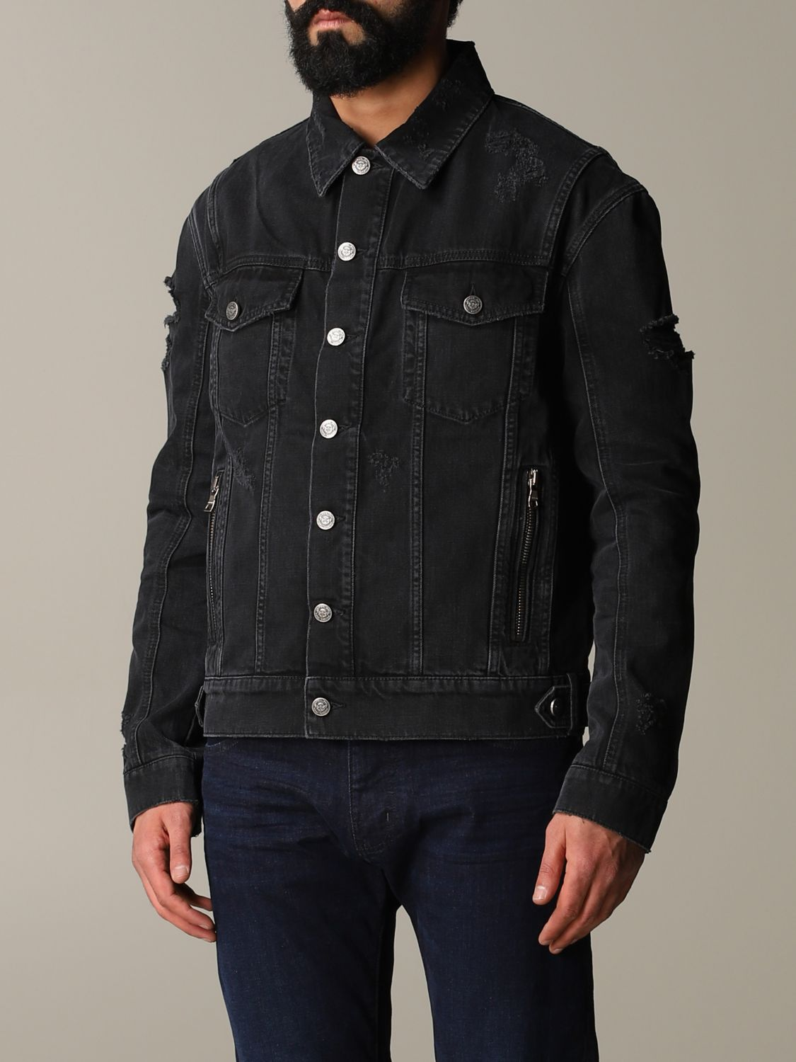 Jacket Balmain: Balmain denim jacket in denim with back logo black 4