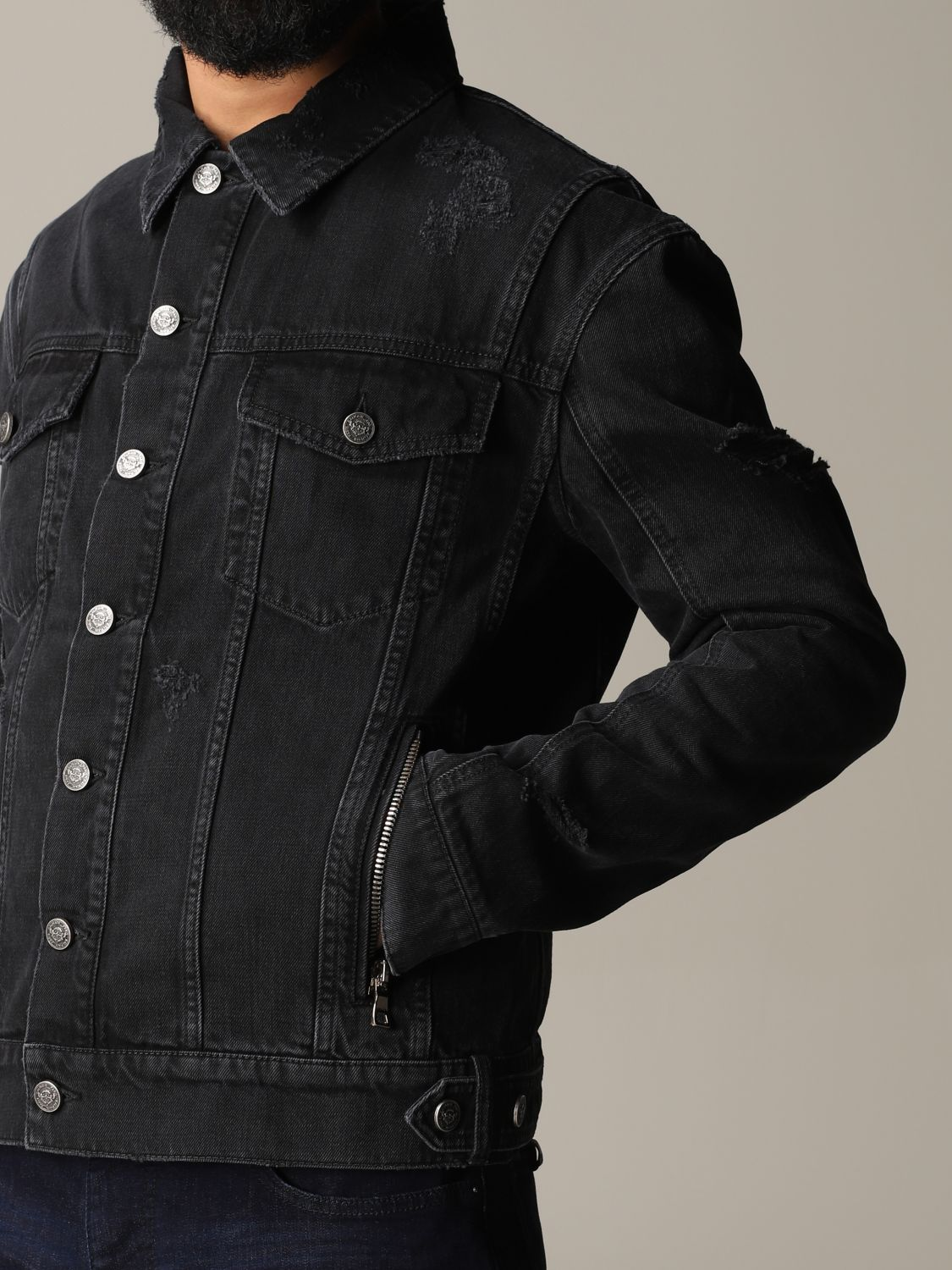 Jacket Balmain: Balmain denim jacket in denim with back logo black 5